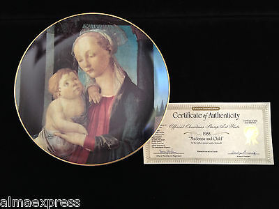 "1988 ""Madonna & Child"" Christmas Stamp Art Plate by Sandro Botticelli USPS CoA"