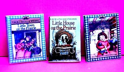 "Dollhouse Miniature Size Set of 3 ""LITTLE HOUSE ON PRAIRIE"" BOOKS  1/12""  mom01"