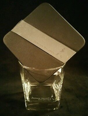 1 JOHNNIE WALKER  keep walking Scotch  Square Tumblers Etched Logo + Couster