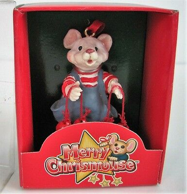 Kurt Adler Merry Chrismouse Christmas Ornament Mouse Red Jingle Bells by Holly