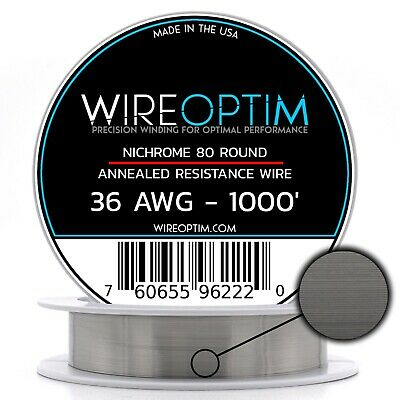 Nichrome 36 Gauge AWG Wire 1000' Roll 0.127mm , 26 Ohms/ft Resistance