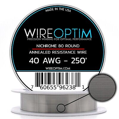 Nichrome 40 Gauge AWG Wire 250' Roll 0.0799mm , 67.63 Ohms/ft Resistance