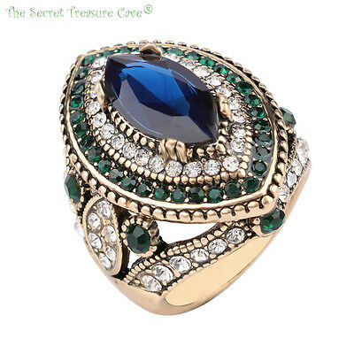 Exotic Turkish Hurrem Style Women's CZ Blue Sapphire Resin Fashion Rings! NEW!!!