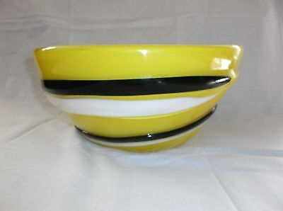 "Rare Fujimori Collection Art Glass Bowl Kato Kogei Japan, Yellow B/W, 12 1/2""D"
