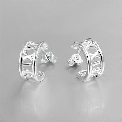 Classical Roman Stud Earring Silver Jewelry Women Charm Sterling Christmas Gift