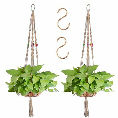 Zealor 55 Inches Plant Hanger Macrame Jute 4 Legs Plant Holder with Extra S Pack