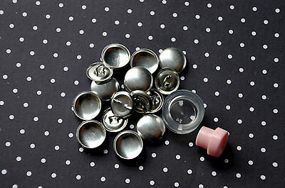 25 x self cover shank back buttons size 24 (15mm) + TOOL + INSTRUCTIONS