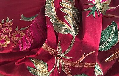 """DESIGNER FLORAL EMBROIDERED SILK IN WINE FABRIC REMNANT,  37"""" x 26"""""""