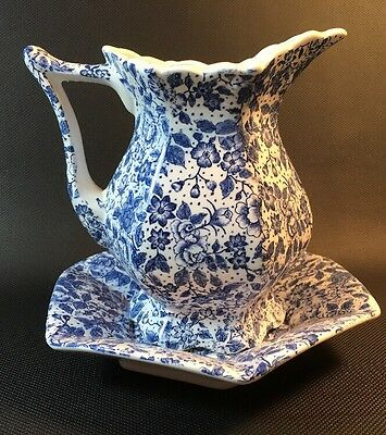 Calico Blue Chintz Pitcher And Bowl Creamer & Underplate Vintage 11C