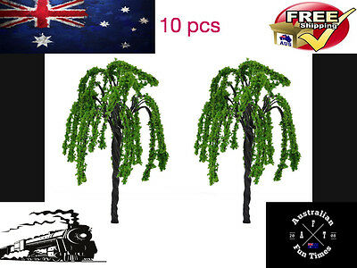 10 pcs HO SCALE WILLOW TREES MODEL TRAIN WAR GAMING PROJECTS LOCOMOTIVE HOBBY