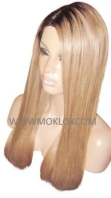 """Remy Human Hair Wig Glueless Front Lace 22"""" Long Dark Blonde 27 Brown 2 Roots UK"""