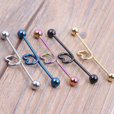 -5 Colour- Surgical Steel Love Industrial Bar Scaffold Ear Barbell Ring Piercing