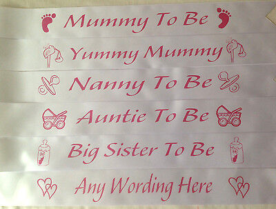 Baby Shower Sash Mummy To Be Nanny Auntie Mum Big Sister Sash Ribbo WHITE & PINK