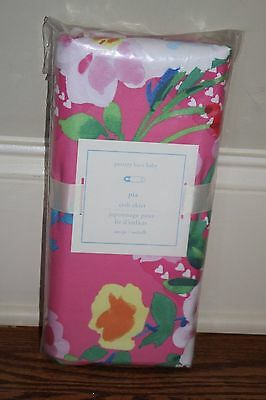 NWT Pottery Barn Kids Pia bright pink floral crib skirt