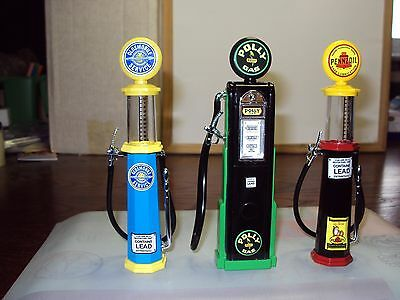 3 X 1:18 Replica Petrol Gas Pumps Road Signature Oldsmobile Pennzoil Polly Brand