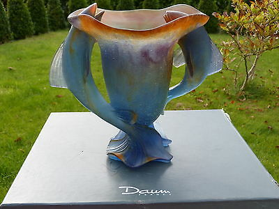 AMAZING  Boxed  DAUM FRANCE- SIGNED  PATE DE VERRE TWO FISHES ART GLASS VASE