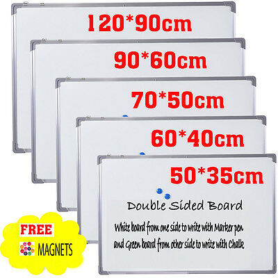 Double Sided Magnetic Whiteboard Aluminium Frame DRYWIPE Notice Memo Office Bord