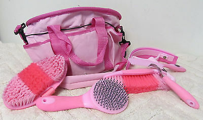Showman 6 Piece Soft Grip Grooming Brushes Set w/Nylon Carry Tote Pink New