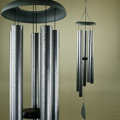 Xtra Large Hand Tuned Musical Scale Black Silver Flake Metal Wind Chime Outdoors