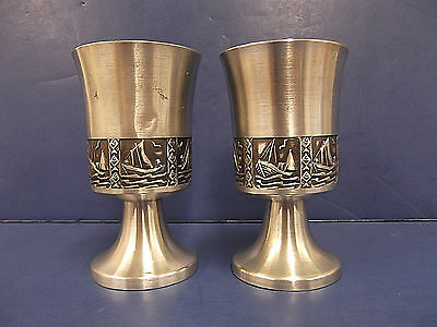 2 Selandia Norway Pewter Pedestal Cups Fishing Boats