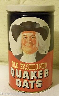 1982 Quaker Oats Tin Can Empty Metal Container w/ Cookie Receipe Limited Edition
