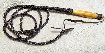 Dark Brown 8 ft. Hand Braided Wood Handle Bull Whip Rodeo Western Horse Tack NEW