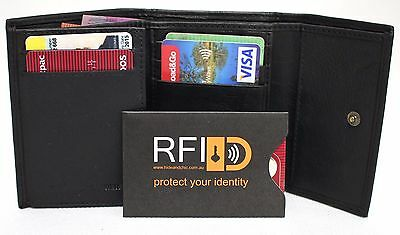 RFID Sleeve Free. Quality Full Grain Cow Hide Leather Trifold Wallet. Blk. 51030