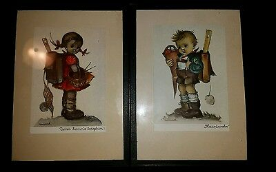 RARE Lot Of 2 VINTAGE M I HUMMEL German Pictures of Boy And Girl Children