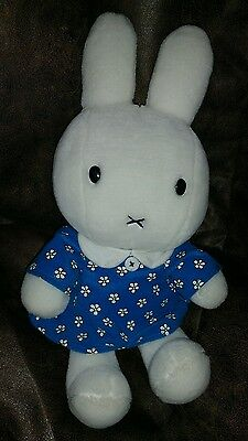 """Miffy Bunny Rabbit white in Blue Outfit  Daisy Dress Flowers Plush Large  15"""" #8"""