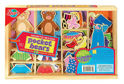 Shure Magnetic Wooden Pocket Bears New in Box