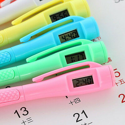 NEW Ballpoint Pen with Digital Watch Electronic Clock Student Office Stationery