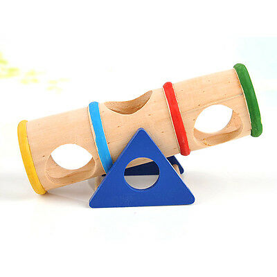 Wooden Colorful Rainbow Seesaw Dwarf Hamster Tube Tunnel Cage House Hide Pet