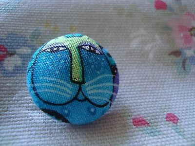 Material Cat Button - Blues / Greens