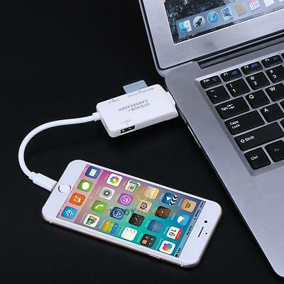 5 in 1 USB 2.0 HUB MS TF SD Card Reader OTG Adapter For iphone Samsung HTC White