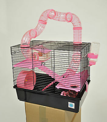 Bernie Large Pink Hamster Cage Small Animal Cage With Fun Play Tubes 3 Storey