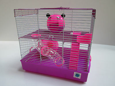 Penthouse Large Pink & Purple Hamster Cage Small Animal Cage 2 Storey