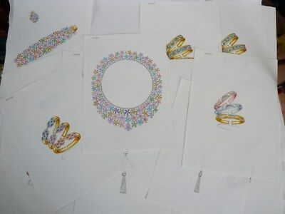 Quinze anciens dessins original bijoux  (22168)
