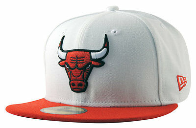 Chicago Bulls White Top 2 NBA Fitted Team Cap By New Era Size 7 3/8