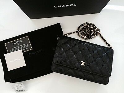 f7a8158d59e0 CHANEL Classic Timeless Black Caviar WOC Wallet On Chain Bag Gold Hardware  NWT