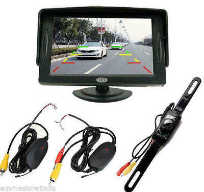"Monitor Retromarcia Auto Portatarga 4.3""TFT LCD Telecamera 7 Led Wireless Kit EM"