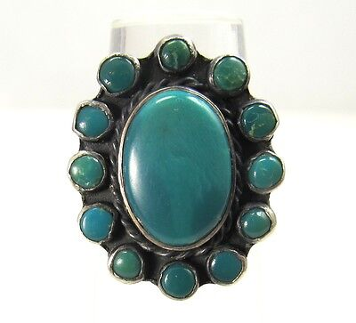 Nice Old Harvey Era Natural Turquoise Cluster Ring Native American