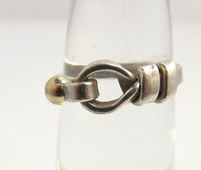 Tiffany & Co Sterling Siver 18K Yellow Gold Hook Ball Ring Estate Authentic
