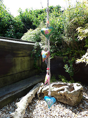 Fair Trade Hand Made Metal Rustic Heart Bells On Rope Wind Chime Mobile Jingle