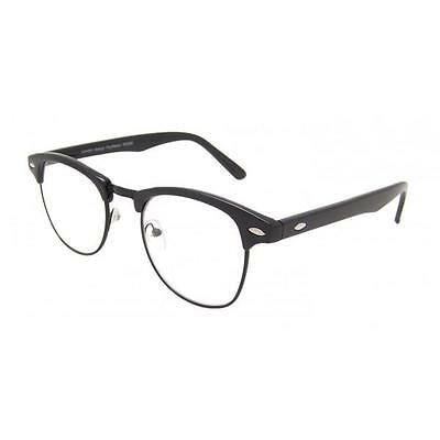 Small Clear Lens Classic Retro Vintage All Black Clubmaster Glasses UV400