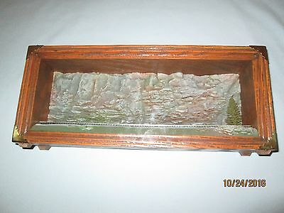 """N Scale- 18"""" Train Display Case w/Rock Formation, Tree & Track"""