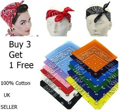 Cotton Paisley Bandana Headband Head Wear Tie Wrap Band Scarf Neck Wrist Uk