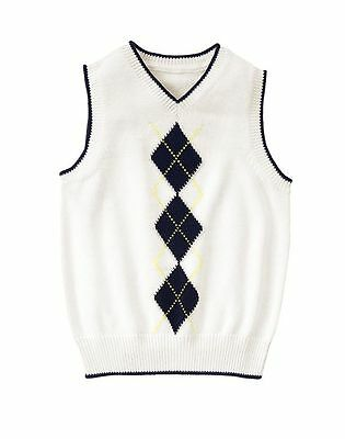 NWT Gymboree Boys EGG HUNT White Argyle Pullover Sweater Vest V-neck 4 5/6 7/8