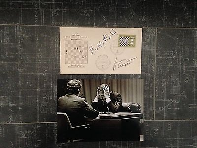 Bobby Fischer and Boris Spassky Authentic, Signed Cover & Photo