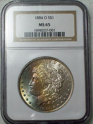 1884 O *SILVER* Morgan Dollar NGC MS 65 *High Grade Exquisite RAINBOW Obverse $1