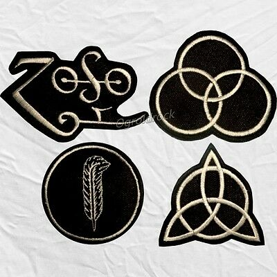Set Led Zeppelin Symbols Embroidered Patches Jimmy Page Robert Plant Bonham Zoso